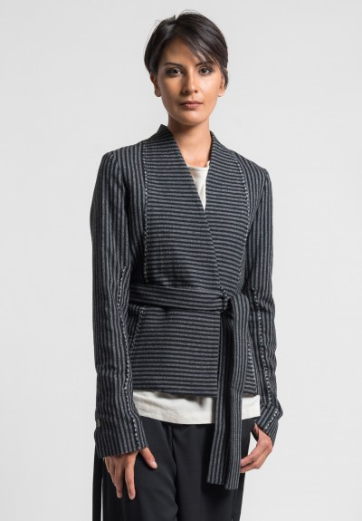 Damir Doma Jackman Striped Jacket in Light Granite/Black