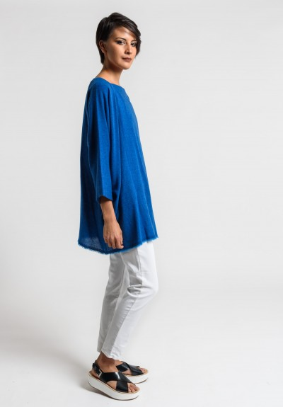 Daniela Gregis Cashmere Top in Turquoise/Ink Blue