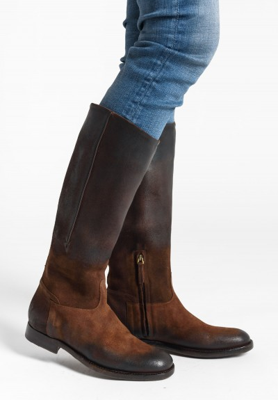 Silvano Sassetti Mid-Calf Suede Boots in Light Brown