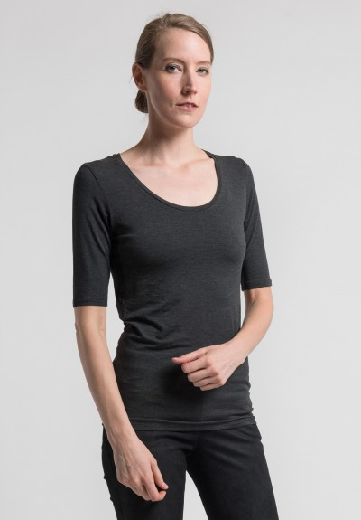Majestic Elbow Length Scoop Neck in Grey
