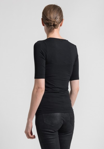 Majestic Elbow Length Round Neck in Black
