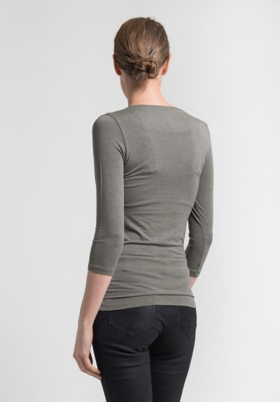 Majestic 3/4 Sleeve V-Neck Top in Military
