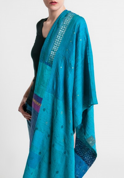 Mieko Mintz Brocade Patched 2-Layer Large Shawl in Turquoise