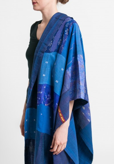 Mieko Mintz Brocade Patched 2-Layer Large Shawl in Indigo/Purple