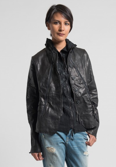 Rundholz Dip Multi Zipper Leather Jacket in Black