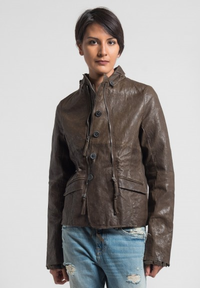 Rundholz Dip Multi Zipper Leather Jacket in Linoil