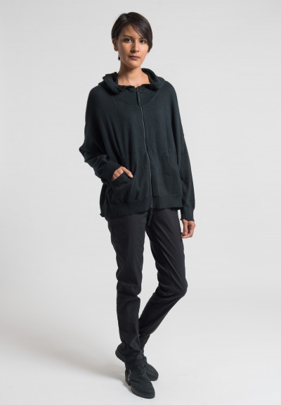 Rundholz Black Label Cotton/Cashmere Hooded Sweater in Black