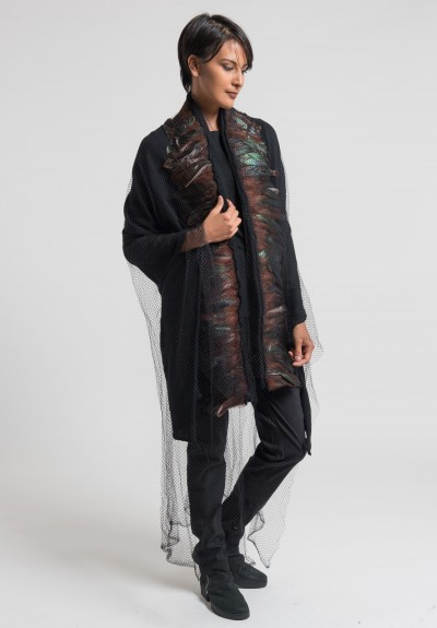 Rundholz Cashmere, Netting, Feather Long Shawl in Black