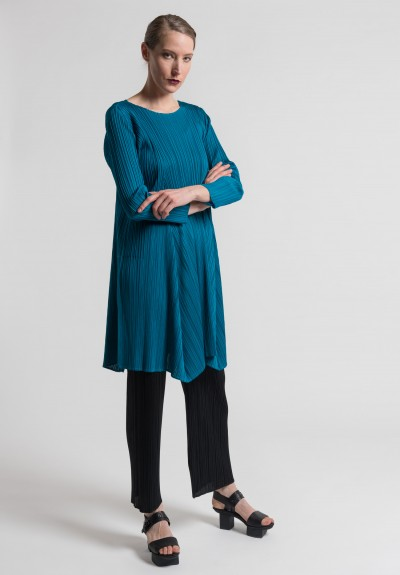 Issey Miyake Pleats Please Rolling Plate Tunic Dress in Teal