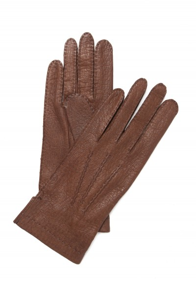 Hestra Handsewn Peccary Leather Unlined Gloves in Brown