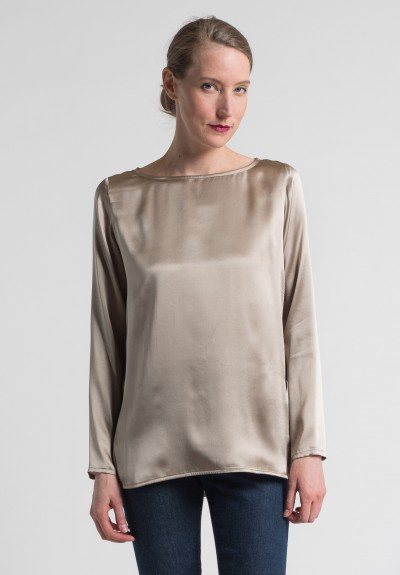 Pauw Long Sleeve Silk Top in Taupe