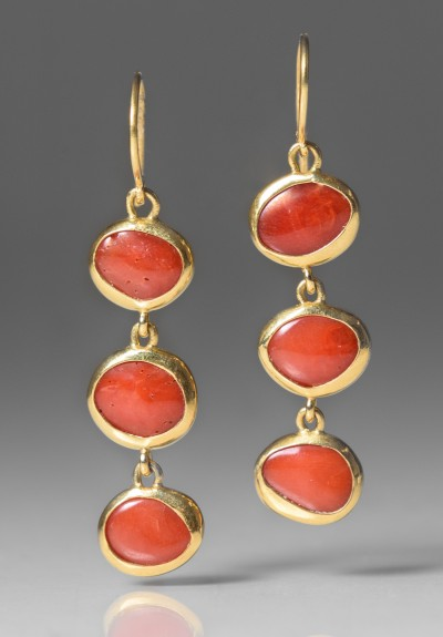Greig Porter 3 Drop Natural Coral Earrings