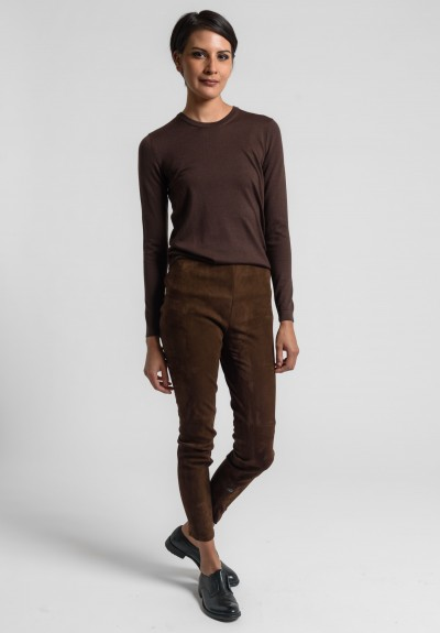 Ralph Lauren Suede Elanora Pant in Chocolate