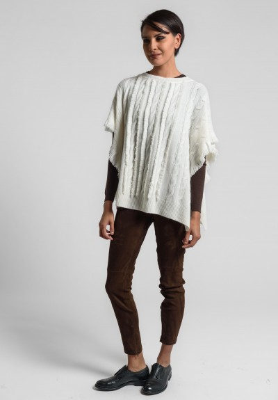 Ralph Lauren Cashmere Cable Knit Poncho in Vanilla