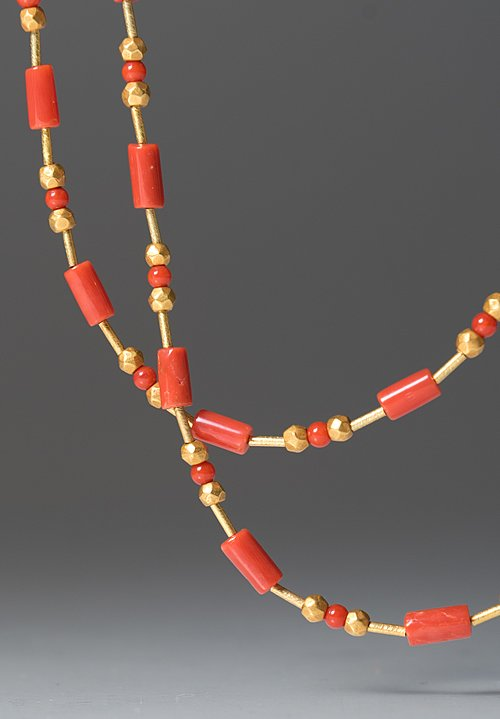 Greig Porter 18K Gold & Coral Bead Necklace