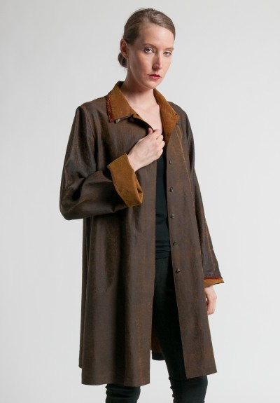 Sophie Hong Silk Double Collar Jacket in Brown