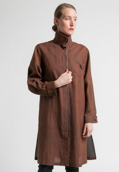 Sophie Hong Silk Double Collar Jacket in Coffee
