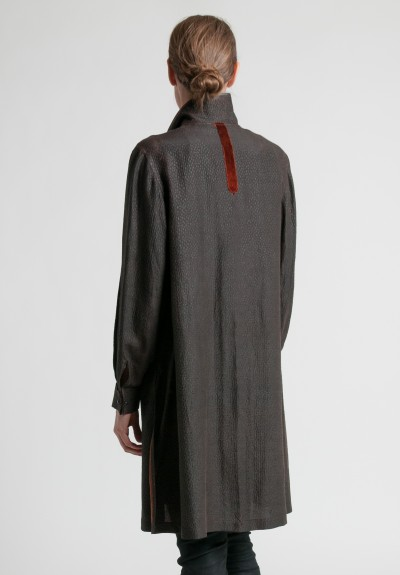 Sophie Hong Silk Double Collar Jacket in Black/Brown