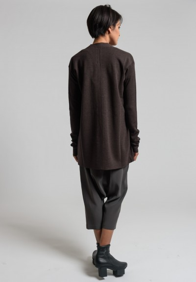 Rick Owens New Wool Long Librarian Cardigan in Macassar