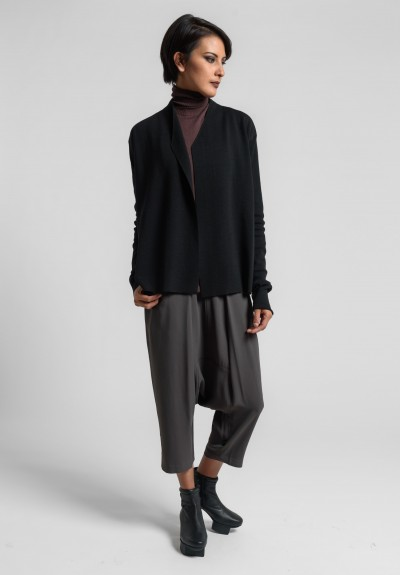 Rick Owens New Wool Short Librarian Cardigan in Black