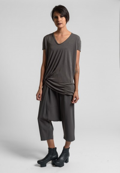 Rick Owens V-Neck Hiked Tee in Dark Dust