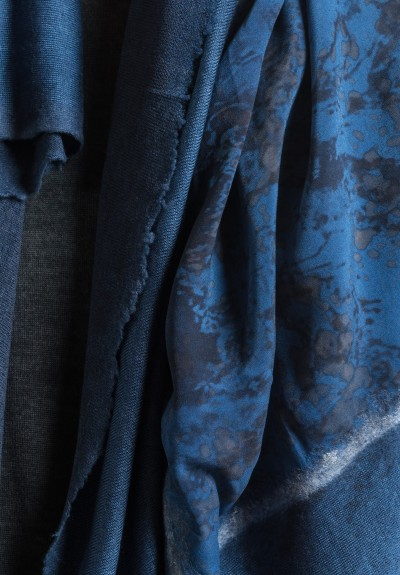 Avant Toi Felted Silk Water Print Scarf in Blue Navy