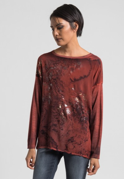 Avant Toi Cashmere/Silk Front Water Print Sweater in Canyon