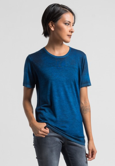 Avant Toi Cashmere/Silk Short Sleeve Knit Top in Cuba