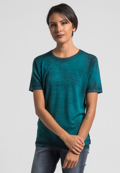 Avant Toi Cashmere/Silk Short Sleeve Knit Top in Turquoise