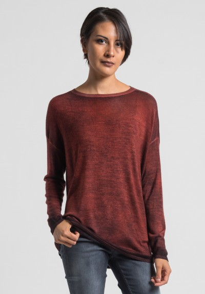 Avant Toi Cashmere/Silk Lightweight Sweater in Canyon