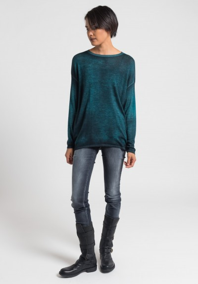 Avant Toi Cashmere/Silk Lightweight Sweater in Turquoise