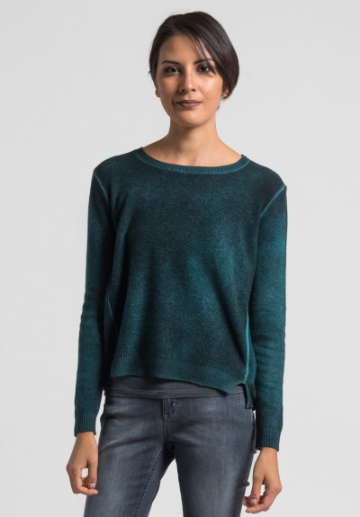 Avant Toi Cashmere Lightweight Waffle Knit Sweater in Turquoise