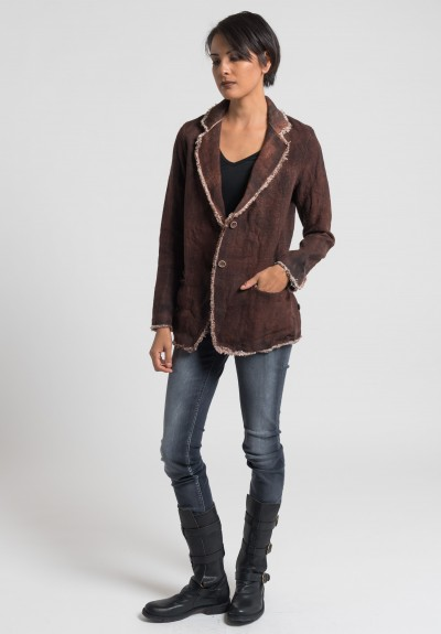 Avant Toi Linen Frayed Edges Jacket in Cocoa