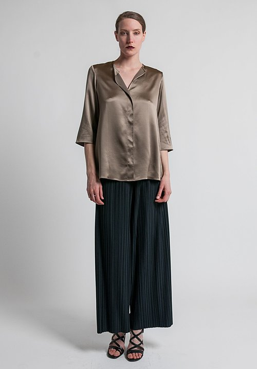 Peter Cohen 3/4 Sleeve Silk Blouse in Khaki
