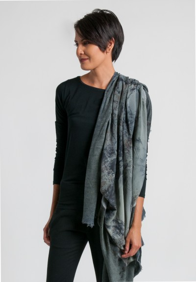 Avant Toi Felted Silk Water Print Scarf in Salice
