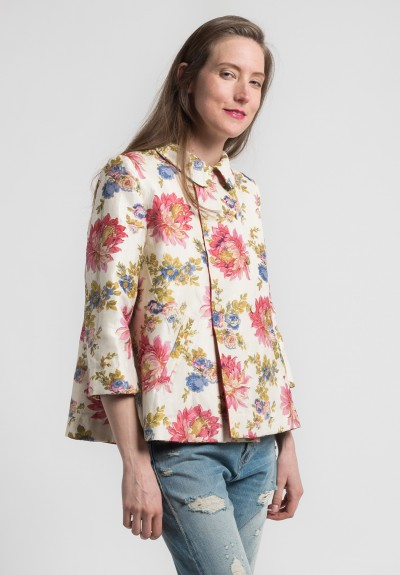 Péro Silk/Cotton Reversible Floral & Stripe Jacket in Orange/Cream