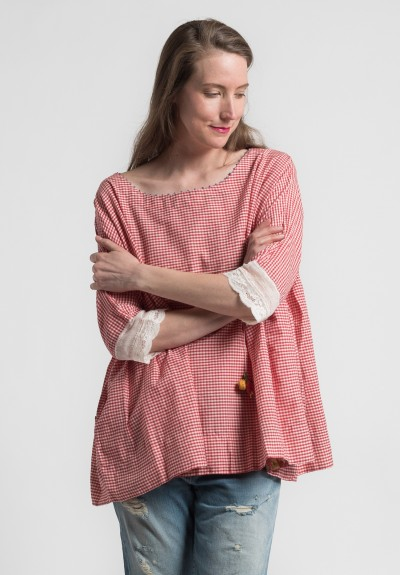 Péro Cotton Gingham Scoop Neck Top in Red