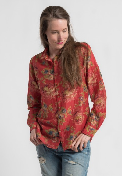 Péro Cotton Floral Point Collar Shirt in Red