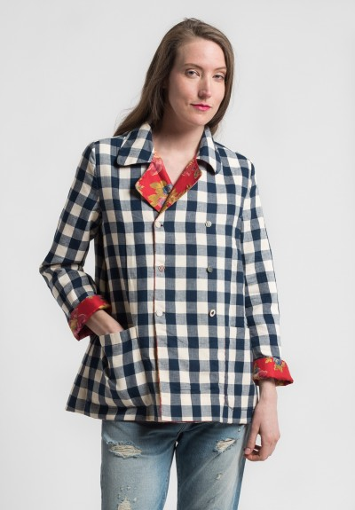 Péro Reversible Silk/Cotton Gingham & Floral Jacket in Red/Blue