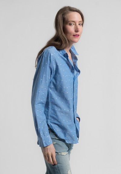 Péro Cotton Micro Floral Point Collar Shirt in Blue