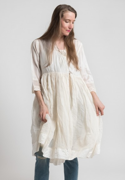 Péro Silk & Cotton Gathered Skirt Peasant Dress in Cream