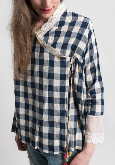 Péro Cotton Gingham & Lace Peasant Top in Blue