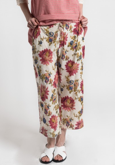 Péro Cotton Floral Drawstring Cropped Pants in Cream