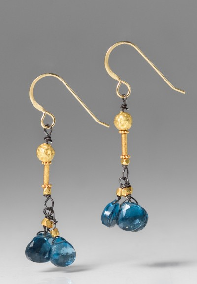 Greig Porter London Blue Topaz Drop Earrings