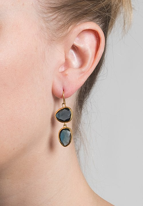 Greig Porter Double London Blue Topaz Drop Earrings