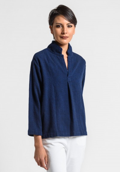 Daniela Gregis Washed Cashmere V-Neck Top in Black/Blue Ink