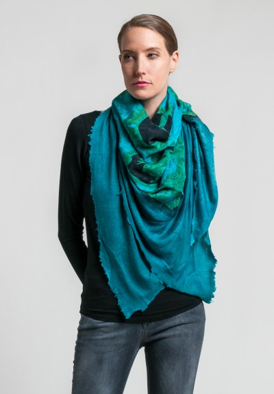 Avant Toi Cashmere/Silk Cupid's Kiss Print Scarf in Turquoise