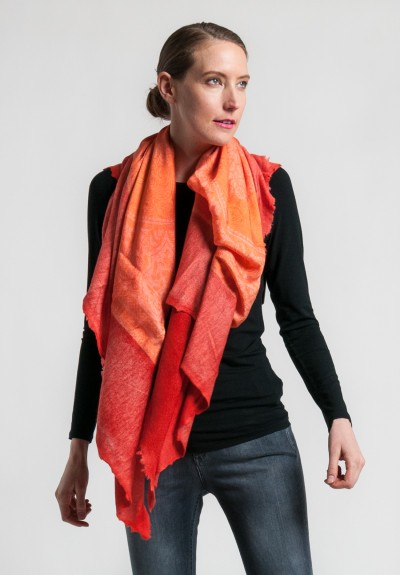 Avant Toi Cashmere/Silk Paisley Print Scarf in Canyon