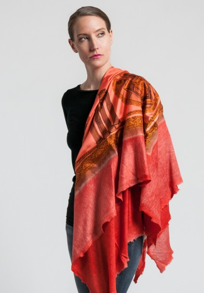 Avant Toi Cashmere/Silk Elephant & Obelisk Print Scarf in Canyon