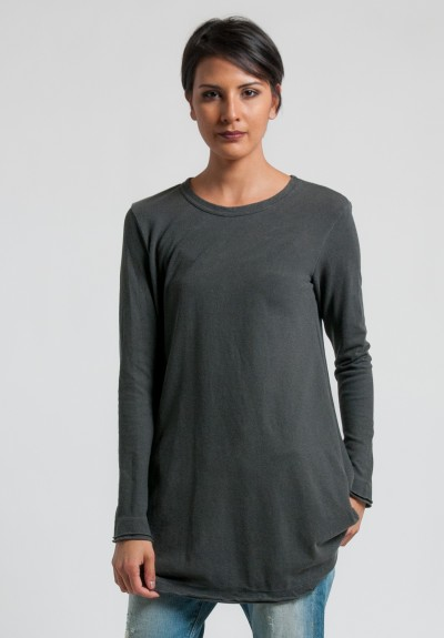 Wilt Long Sleeve Raw Trapeze Tunic Dress in Charcoal